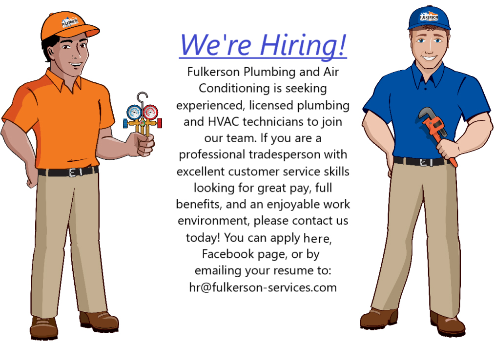 We are hiring Fulkerson plumbing hvac tech jobs